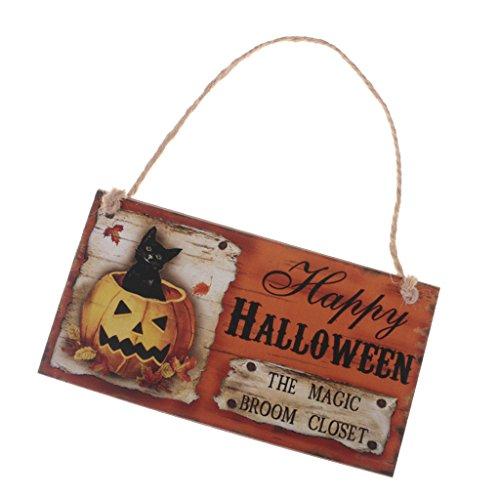 MagiDeal Halloween Tür-Schilder aus Holz mit Kordel zum Aufhängen - Türhänger Wandschild Türschild Dekoration - für Halloween Thanksgiving Erntedankfest Party - The magic broom closet, 20 x 10.5cm