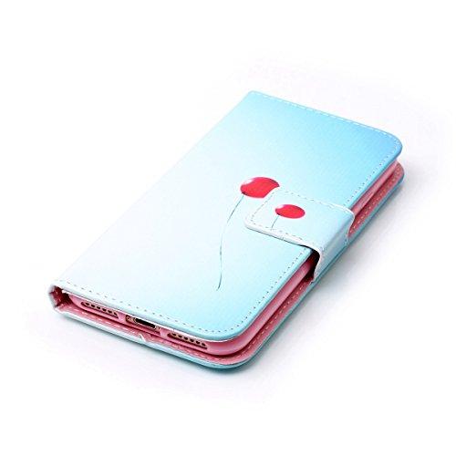 iPhone 7 Hülle,SainCat iPhone 7 Ledertasche Handyhülle Brieftasche im BookStyle Erleichterung Pfaublume Muster PU Leder Hülle Wallet Case Folio Schutzhülle Lederhülle Ledercase Scratch Bumper Handytas Red Balloon