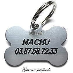 MACHU - Medaille Chien os pour Grand/Moyen Chien - Couleur Argent - 3,8 cm X 2,5 cm - Gravure Offerte.