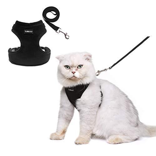 SCENEREAL Hundegeschirr und Leine, auslaufsicher, weich, verstellbar, für Katzen, Kätzchen, Welpen, kleine Hunde