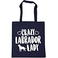 HippoWarehouse Crazy Labrador lady dog Tote Shopping Gym Beach Bag 42cm x38cm, 10 litres