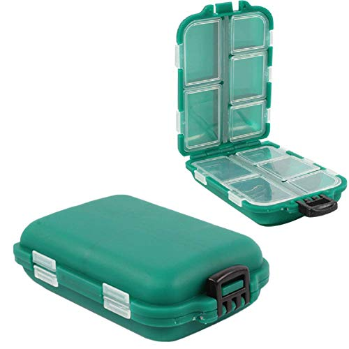 Chytaii 2pcs Caja para Aparejos de Pesca Caja de Almacenamiento con 10 Compartimentos para Pesca Caja de Gancho Caja de Accesorios de PVC Almacenamiento Caso Verde