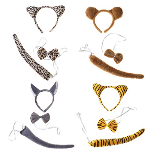 Holibanna 4 Sätze scherzt Tierohrstirnband Bowtie - Kostüm Wolf Tail