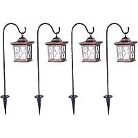 f09c3c5fb2865c Ensemble de 4 LED solaire Stands Lampes Jardin Ground Spike Hanging  Lanternes Porche Lumières extérieures Cuivre