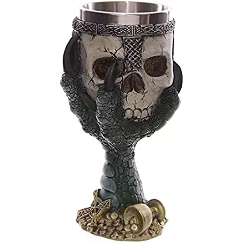 Acciaio inossidabile gotico XJoel artiglio Caffè, Crani terrificanti Tankard interni ed esterni sequestri di