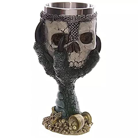 XJoel Gothic Eagle Claw Coffee Mug of Skulls Creepy Tankard Cup with Stainless Steel Interior & Resin Exterior Holds