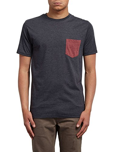 Volcom Herren Pocket Hth SS Schwarz T-Shirt, Heather Black, XL (Herren Pocket T-shirts)