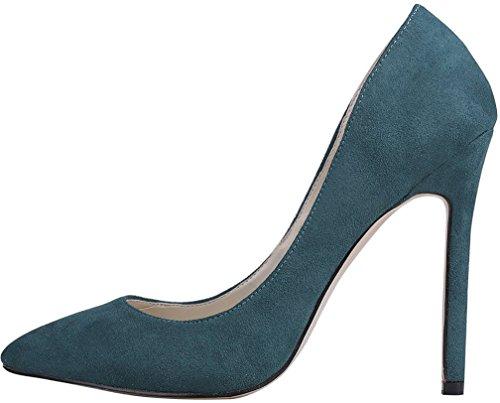 Calaier Femme Caright 10CM Aiguille Glisser Sur Escarpins Chaussures Vert