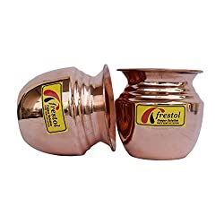 Frestol Copper Kalash Serveware, Tableware having Capacity 250 ML- (Set of 2)