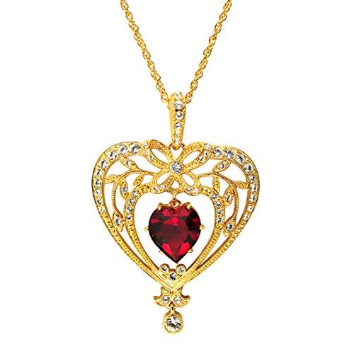 Cristalina Halskette 18K Gold Vergoldet Swarovski Ruby Herz Anhänger mit Kette von groß (Flapper Kostüm Red)