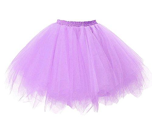 Facent Donna Retro Annata di 50 Anno Tutu Gonna Balletto di Danza Principessa Sottogonna per il Partito di Prom Tulle Lavanda