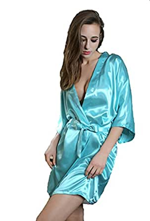 womens ladies satin kimono dressing gown silk robe amazon