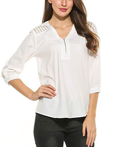 Parabler Damen Elegant Bluse Chiffon V-Ausschnitt Langarm Shirt Locker Hemd Tunika Oberteile Tunika mit Knöpfe- Gr. XXL, 2-weiß