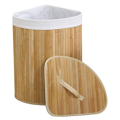 Bambus-ecke (WM Homebase Wäschekorb aus Bambus Faltbar Aufbewahrungsbox Herausnehmbaren Wäschesack mit Deckel für Ecken Naturfarbe 35x35x60CM)