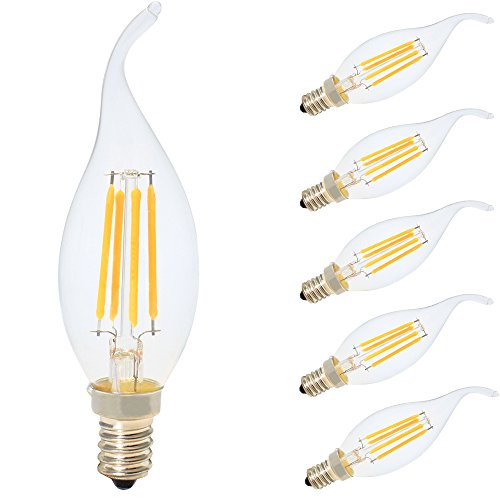 5er E14 LED Birnen Kerzenform Ersetzt 30W Glühbirne 4W C35 300LM Warmweiß 2700K,LED Kerzenlampe Kronleuchter Kerzenleuchten