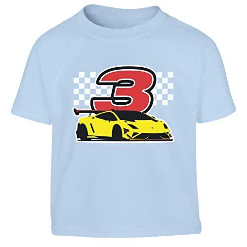Motor Kleinkind T-shirt (Geschenk für Jungs 3 Geburtstag mit Auto Kleinkind Kinder T-Shirt - Gr. 86-128 104 (3-4J) Hellblau)