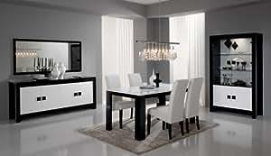 Salle à manger Complète PISA bicolore noir/blanc