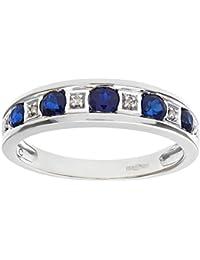 Naava Women's Round Brilliant Sapphire and Diamonds 9 ct White Gold Eternity Ring
