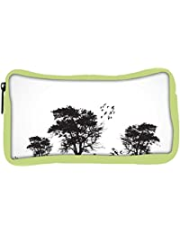 Snoogg Eco Friendly Canvas Vector Grunge Background With Trees Student Pen Pencil Case Coin Purse Pouch Cosmetic...