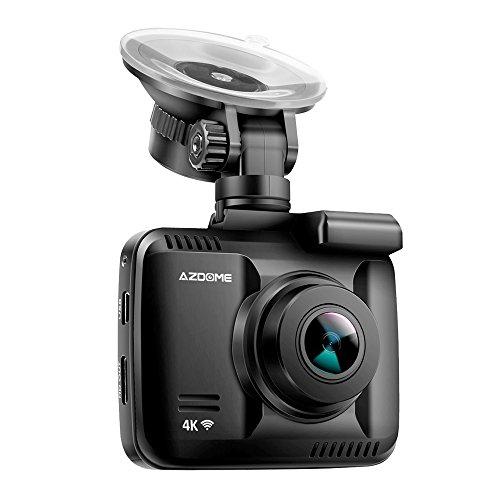 Autokamera Dashcam WIFI GPS 2160P 4K Dashcam unterstützt Rückfahrkamerasystem Ultra HD Video Recorder mit CPU NOVATEK NT96660 und integrierter Batterie | 170° Weitwinkel | G-Sensor | WDR Super Nachtsicht | Loop Aufnahme(Schleifenaufnahme) | Parkmonitor | SOS-Schutz | Bewegungserkennung| inkl.AZDOME Kfz Ladegerät