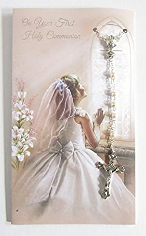 Female First Holy Communion Rosary Beads & Greeting