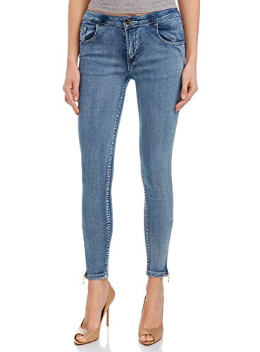 oodji Ultra Donna Jeans Slim Fit con Zip Alla Caviglia, Blu, 25W / 30L (IT 38 / EU 25 / XXS)
