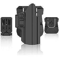 efluky Holster Ceinture Universel Airsoft Pistolet Defense IPSC Gun Holster for Glock 17 19 26/HK USP/Beretta APX/Walther p99/Sig Sauer P320/CZ P07,Paddle & Belt Clip 360° Réglable