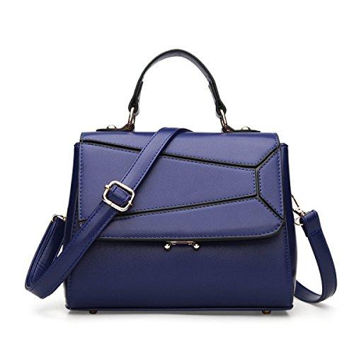 Donne Di Cuoio Di Moda Di Grande Capacità Antifurto Singola Spalla Crossbody Bag Blue