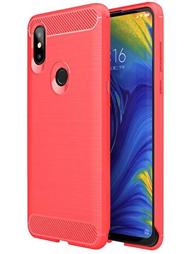 TTVie Hülle für Xiaomi Mi Mix 3, Ultra Slim Weiche Karbon Optik TPU Silikon Handyhülle Schutz vor Stürzen und Stößen Schutzhülle für Xiaomi Mi Mix 3 6.39 Zoll Smartphone, Rot