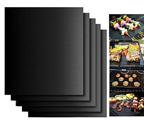 Hillento Tapis de Barbecue Ensemble de 5, Non-bâton Tapis de Gril Barbecue,Lourds,réutilisables et faciles à Nettoyer, Fonctionne sur Charbon de gaz Grill Barbecue électrique, 15,75 x 13 Pouces,Noir