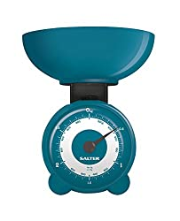 SALTER Orb mechanische Küchenwaage - Schnelle, genaue Messergebnisse, Messrad, Spülmaschinenfeste Schüssel, Keine Knöpfe oder Batterien, 15 Jahre Garantie blau