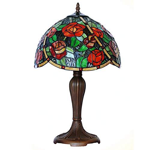 Tiffany-Stil Tischlampen, 12 Zoll Glasmalerei Bevel Roses Design dekorative Schreibtischlampen, Licht Büro, Studentenwohnheim, Esszimmer, Mädchen Zimmer -