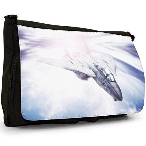 Fancy A Bag Borsa Messenger nero AV-8B Harrier US Navy Plane Speeding Jet Flying Fast In The Sky