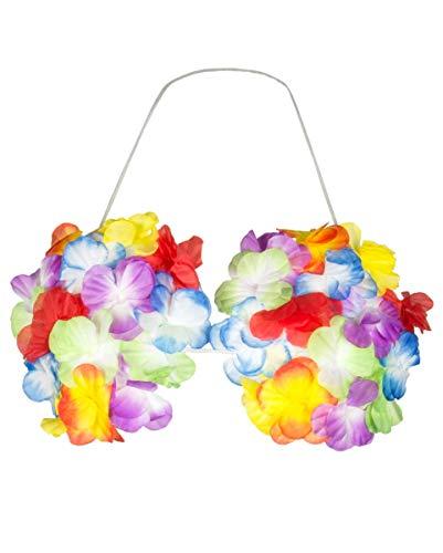 Horror-Shop Bunter Muschel-BH mit Hawaii Blüten für Hula Blumenmädchen - Muschel Bh Kostüm
