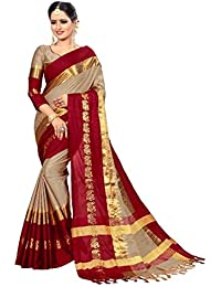 VK Saree Women's Cotton Silk Saree With Blouse Piece