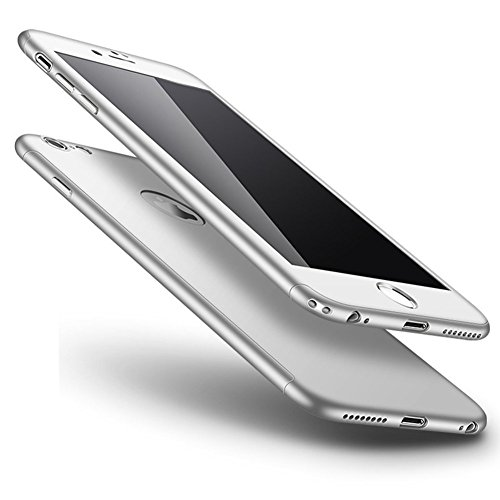 iPhone 6S Plus Hülle,iPhone 6 Plus Hülle,iPhone 6/6S Plus Hülle Hardcase,JAWSEU iPhone 6S Plus 360 Grad Hülle + Panzerglas, Komplettschutz Vorder und Rückseiten Schutz Schale Ganzkörper-Koffer 360 Ful Silber