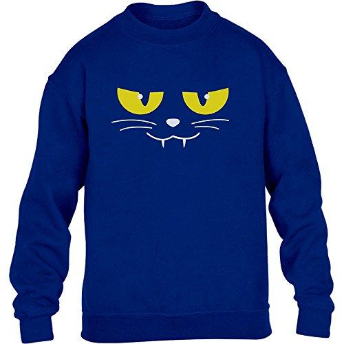 Evil Cat Face - Katzengesicht Halloween Kinder Pullover Sweatshirt Large (Cat Ideen Kostüm Face)