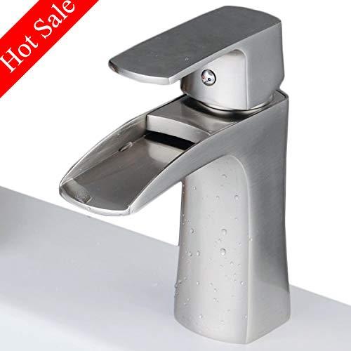 Einhebel Waschtischarmatur wasserhahn für Bad Waschbecken Wasserfall Waschtischmischer Armaturen Spültischarmaturen Badarmatur Mischer Gebürstetes Nickel -