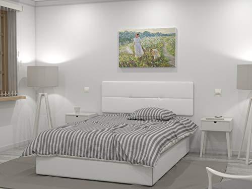 LA WEB DEL COLCHON Cabecero de Cama tapizado Acolchado Julie 145 x 55 cms. para Camas de 135 y 140 cms. Polipiel Color Blanco. Incluye herrajes para Colgar con regulador de Altura