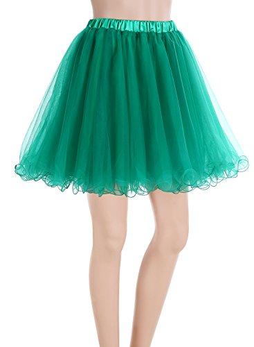 ALAGIRLS Mädchen Kurz Retro Petticoat Rock Tutu Unterrock Grün