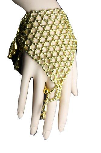 Handschmuck Sklavenarmband Bauchtanz Bollywood Schmuck Karneval Fasching Orient in gold Farbe (Kostüme Von Indien)