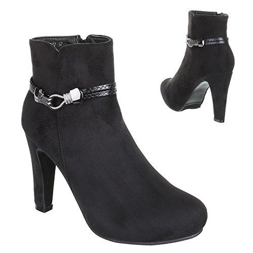 Damen Schuhe, ZH677, ANKLE BOOTS STIEFELETTEN Schwarz