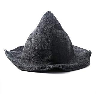 AOZBZ Moderner Hexenhut Wolle Halloween Hexenhut Hut mit breiter Krempe für Frauen und Mädchen (Dunkelgrau)