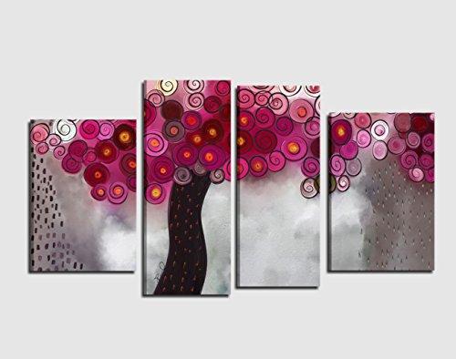 quadri-moderni-astratti-dipinti-a-mano-olio-su-tela-albero-colori-fucsia-viola-violetto-gentile