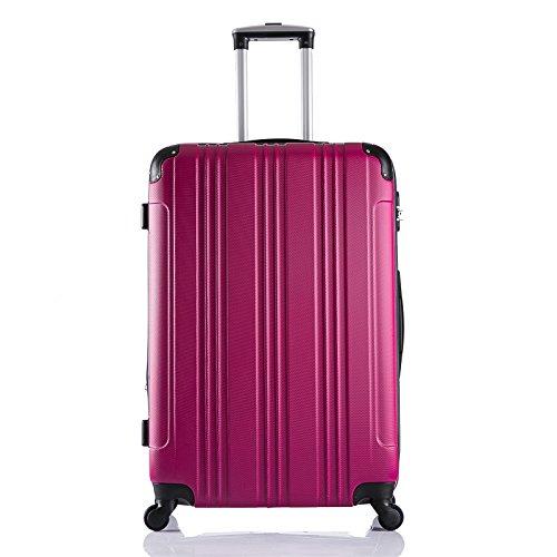 EUGAD #375 Reisekoffer Hartschale Koffer Trolley mit erweiterbare Volumen , Reise Koffer Trolley 4 Rollen , Hartschalenkoffer Handgepäck M/L/XL/Set , leicht und günstig , Pink (XL, 75 cm & 110 Liter)