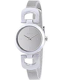 DKNY  - Reloj Analógico de Cuarzo para Mujer, correa de Acero inoxidable color Plateado