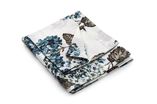 Luna di Giorno Stampa Ortensie Set Copripiumino Matrimoniale, 100% Cotone, Blu, 255 x 220 cm