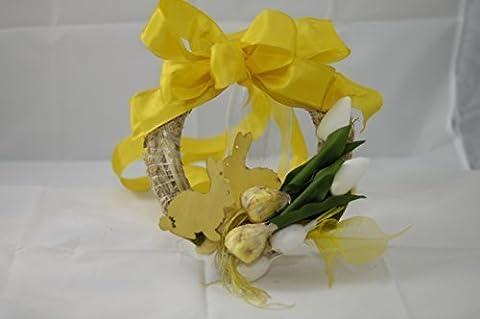 Ostertürkranz in gelb und weiss