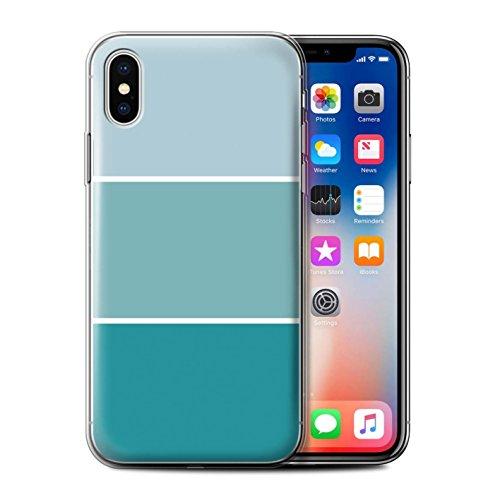 Stuff4 Gel TPU Hülle / Case für Apple iPhone X/10 / Lila Muster / Pastell Farbton Kollektion Türkis