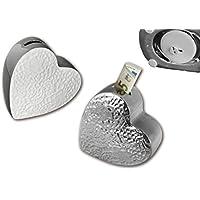 Preisvergleich für 1 x Spardose Belvedere weiß o. Silber Breite 16 cm, Herz, Heart, Liebe, Hochzeit
